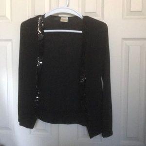 Sweaters - Black cardigan with sequin trim